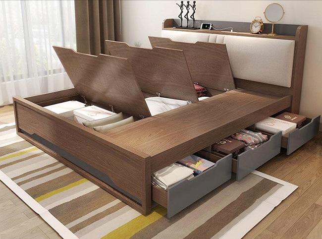 Giường ngủ gỗ có ngăn kéo, hộc kéo đa năng giá rẻ TPHCM